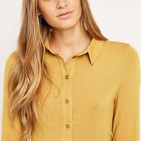 Urban Outfitters Ribbed Silky Shirt - Urban Outfitters