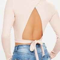 Missguided - Nude Tie Back Rib High Neck Crop Top