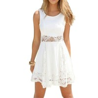ANDI ROSE Women's Sexy Floral Chiffon Hollow Slim Mini Dress White (Size S (US size 4-6))