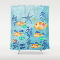 "Shower Curtain - 'Big Family' - 71"" by 74"" Home, Decor, Bathroom, Bath, Dorm, Girl, Christmas, Gift, Ocean, Turquoise, Starfish, Water, Blue"