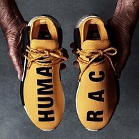 Adidas Nmd Human Race Black Leisure Running Sports Shoes Yellow