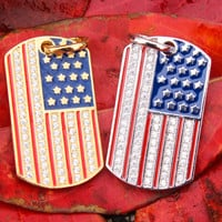 American Flag Sterling Silver Dog Tag Pendant