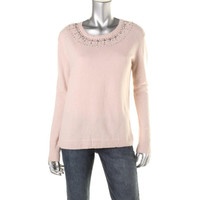 Dylan Gray Womens Cashmere Beaded Pullover Sweater