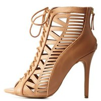 Natural Peep Toe Cut-Out Lace-Up Heels by Charlotte Russe