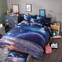 3 PCS Hipster Galaxy 3D Bedding Set Universe Outer Space Themed Galaxy Print Bedlinen Duvet cover & pillow case queen SIZE