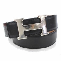 Authentic Hermes Belt Brown X Black Silvertone H 72 371484