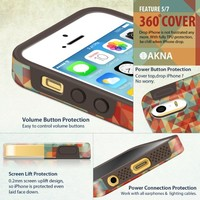 iphone5s cases for girls, Akna Glamour Series [Flexible TPU]*[High Impact]*[Tough Slim Cover] Soft Back Case for iPhone 5 5S [Vintage Geometric](U.S)
