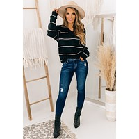 Completely Yours Striped V-Neck Sweater (Black/Cream)