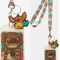 Licensed cool Disney Lilo & Stitch TIKI ID Holder Lanyard With Rubber Stitch & Pineapple Charm