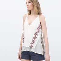 TANK TOP WITH ETHNIC EMBROIDERY