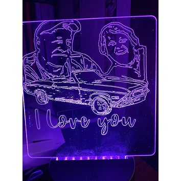 Personalized 3D LED Night Light Display with etched photo