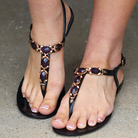 Getty Embellished Sandal {Black}