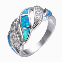 Blue Sapphire Jewelry Crystal Fire Opal Ring 14KT White Gold filled 925 Sterling Silver Jewelry Wedding Rings For Women RP0011