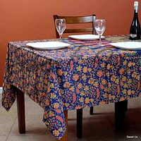 Cotton Peacock Mandala Floral Tablecloth Rectangle 68x102 Blue Gold Red