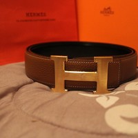 100CM BROWN MENS HERMES BELT LEATHER WITH GOLD H BUCKLE