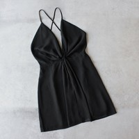 Leah knot chiffon dress - black