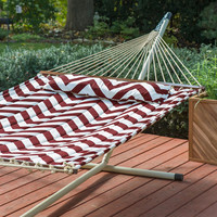 Outdoor Patio Deck 13-Ft Quilted Hammock with Bronze Stand and Pillow in Red Merlot Cream