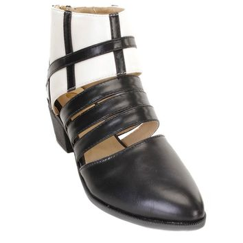 Two Tone Cut Out Strappy Vegan Faux Leather Womens Ankle Bootie