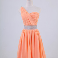 One-shoulder sleeveless floor-length chiffon sashes beading pleated long prom/Evening/Party/Homecoming/cocktail /Bridesmaid/Formal Dress