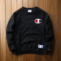 Autumn and winter champion embroidered small lovers sweater plus velvet thickening Black