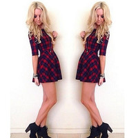 Woman Dress  European American Popular Plus Size Slim Fold Plaid