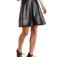 Faux Leather Skater Skirt by Charlotte Russe