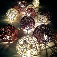 20x wood and white color Rattan ball string light for home decoration