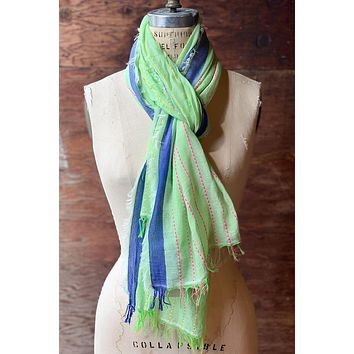 Dolma Cotton Scarf with Contrasting Stitching