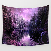 A Cold Winter's Night : Purple Lavender Winter Wonderland Wall Tapestry by 2sweet4words Designs