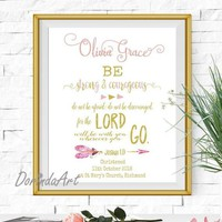 Baptism gift girl Personalized Christening Gifts Girl Be strong and courageous Pink and gold Christian gifts for Girls Christian Wall art