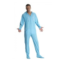 Blue Cotton Footed Hooded Pajamas