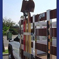 Heavy Duty - Truck Mounted Landscape & Garden Tool Rack - Stake Bed Style Mount 6-Tool Holding Rack - Premium Contractor Grade