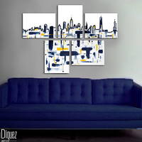 "Made to order. Original abstract painting. 5 piece canvas art. 29x41"" Large painting of New York's skyline. Modern wall art. Fine art."
