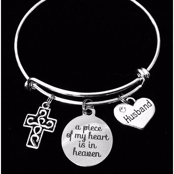 Husband Memorial Jewelry A Piece of My Heart is in Heaven Expandable Charm Bracelet Adjustable Wire Bangle One Size Fits All Memory Bereavement Gift