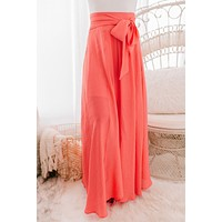 Every Daycation Flared Maxi Skirt (Coral)