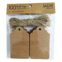 Pack of 100 Brown Kraft Tags with 10 Meters of Jute Twine - For Use As Gift Tags, Wedding Favor Tags, Product Label / Price Tags or for Scrapbooking and Various Arts & Crafts and Homemade Projects By Sacar Stationery