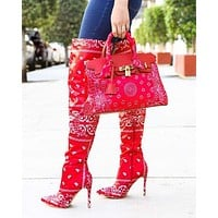 Red Winter Paisley Women Boots Fashion Paisley Bag Pointy Toe Punk High Thin Heels Over The Knee Long Boots Autumn Booties