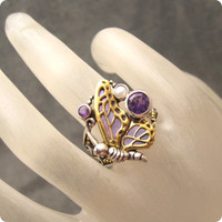 Sterling Bronze Butterfly Ring Size 8 Margaret Thurman Jewelry