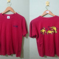 Vintage 90s Keith Haring Dancing red tshirt