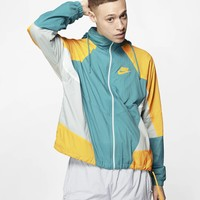 """Nike"" Unisex Hooded Sports Casual Contrast Color Zip Print Stripe Long Sleeve Sunscreen Windbreaker Coat Sportswear"