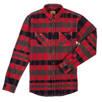 Mixed Plaid Button Down Red and Grey