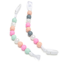 Teether Pacifier Clip - 2 Pack Pink Pearls Design For Girls - Silicone Pacifier Holder - Best Pacifier Leash for Teething Toys, Baby Blankets, Soothie - Perfect Baby Shower Gift