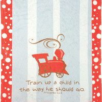 """Manual Woodworkers SATUAC Train Up A Child Mini Fleece 30""""x40"""" Throw Blanket with Pacifier Clip"""