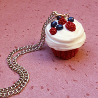 polymer clay red velvet cupcake with raspberries and blueberries necklace