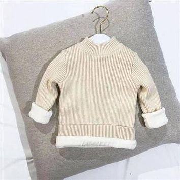 Winter  Children Girl's Boy's Sweater 4-12Year Autumn Baby Toddler Boys's Warm Clothing With Woolen   Long Sleeve Shirts
