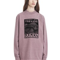 EXCLUSIVE MOCK NECK LONG SLEEVE TEE WITH FLOCKING ARTWORK   TOP   Alexander Wang Official Site