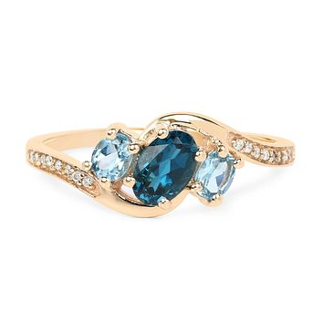 14K Yellow Gold Natural London Blue Topaz & Earth Mined Diamond Engagement Ring
