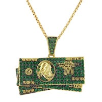 Green $100 Dollar Bills Iced Out Cash pendant Chain