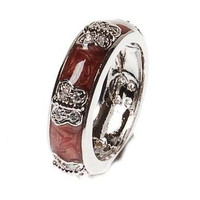 Beautiful Designer Inspired And Brass With A Rhodium And Maroon Enamel Butterfly Ring. Ring Can Be Worn Alone Or Paired With Fashion Colors. Rhodium Plated To Prevent Tarnishing.