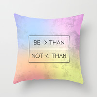 GREATER [RAINBOW] Throw Pillow by Wesley Bird